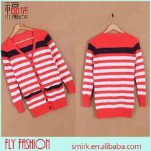 Dc247- 2# 2015 de moda las mujeres géneros de punto de rayas rojas y blancas suéters, suéter de la señora