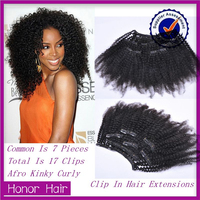 Wholesale Double Weft 3 Piece Full Head Brazilian Human Hair Afro Kinky Curly Clip in Hair Extensions For Black Women