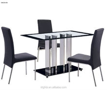 2015 the most popular glass table of the highest quality stainless steel legs of the table