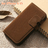 Since 2013 beautiful wallet PU leather promotional mobile phone case pouch for Iphone 4 4S with magnetic bumper