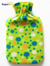 BS coral fleece hot water bag cover little dots with ponpoms
