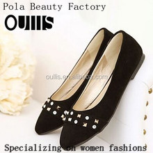 Factory price comfortable flat shoes with rivet elegant pointed toe flat casual shoes loafers shoes CP6830