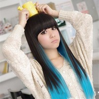 100% Heat-Resistant Synthetic Fiber Long Straight Hair Wig High-temperature Black Blue Mix Colour Hairpiece Cosplay Party Wigs