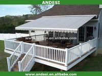 retractable canvas fabric stripe awning