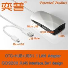 Productos de la patente de 2015 otg 2 cable puertos usb hub a 2.0 rj45 lan adaptador adaptador de ethernet