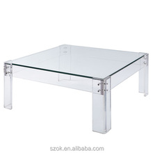 high clear customized acrylic square coffee table factory directly supply