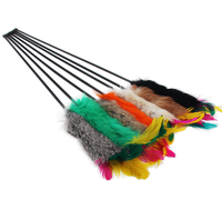 Rabbit Fur & Feather Cat Teaser Cat Toy Pet Toy Love Interactive Cats Toy