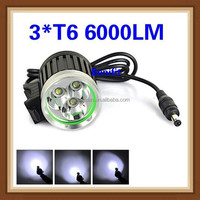 new best Bicycle Light Headlamp 3*CREE XM-L T6 6000LM LED