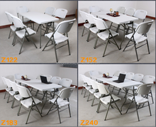 4ft, 5ft, 6ft, 8ft plastic suitcase folding in half table, folding steel legs camping table, best selling products in USA