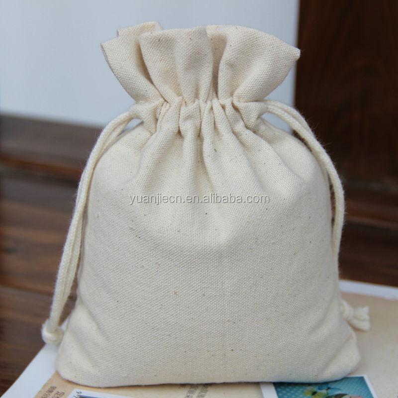 Yuanjie wholesale stylish small plain white cotton pouchs bag plain drawstring shoe bags wholesale
