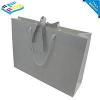 china wholesale handmade matt white cloth paper shopping bag with ribbon