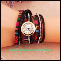 2016 Fashion Brand Handmade Rope Bracelet Women Watch Geneva leather Hand-Woven Watch Ladies Quarzt Watch Christmas gift AD0132