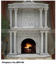 Decor Flame Electric outdoor stone marble fireplace