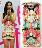 In stock mermaid print flower mini new fashion ladies summer dress