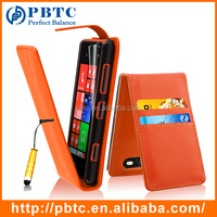 Set Screen Protector Stylus And Case For Nokia Lumia 820 , Orange Wallet PU Leather Mobile Phone Case