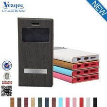 Veaqee new arrival 3 different design wood grain two mobile phones leather case