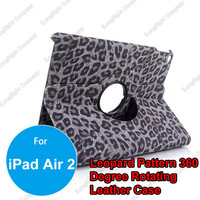 Leopard Skin PU Leather 360 Degree Rotating Smart Cases Cover for iPad Air 2,Leopard Print Rotating Stand Cover Leather Case