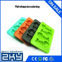 Szzkaiy-ICE001 FDA standard POP Out Non Stick Ice Cube Tray Soft Silicone Custom Fish Ice Cube Tray