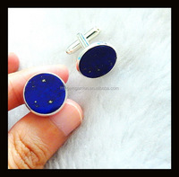 Lapis Lazuli Round Shape Cufflink For Mens Shirts