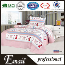 2015New design pink cat pattern Cotton printed 2pcs children quilt made in China