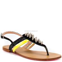 JUSITY China Wholesale Black Shoes 2015 No Heel Sandals Flat Women
