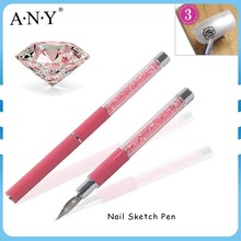 ANY Professional Nail Art Flower Painting Design Nail Art Pink Rhinestone Sketch Nail Brush Painting