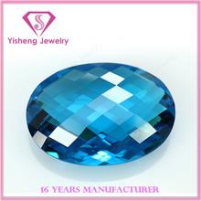 AAA Oval Dual Turtle Shell Cut Nano Crystal Zircon Synthetic Aquamarine Loose Stones
