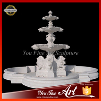 Outdoor Garden Decorative White Marble Lion Fountain
