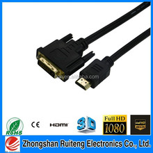 High speed gold plated HDMI to DVI 24+1 cable with Ethernet 1080p