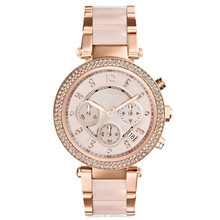 Women's Chronograph Parker Blush and Rose Gold-Tone Stainless Steel Bracelet Watch MK5896
