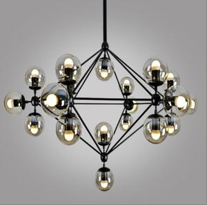 حار بيع الرجعية أضواء السقف الثريات loft الصناعية متعددة الشاي الزجاج غلوب الإضاءة الثريا الحديد الأسود