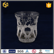 White clear animal painted small glass candle jars wholesale frosted