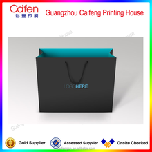 high class black paper bag with printing for shopping