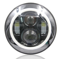 7 Inch Round LED Headlight with Amber Signal Halo Angle Eyes with DRL Halo for 97-15 Jeep Wrangler(1 Pair) 022022