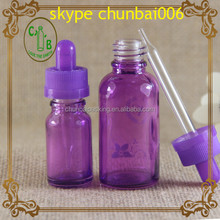 For female purple glass 10ml 30ml bottle for e-liquid with child safety cap