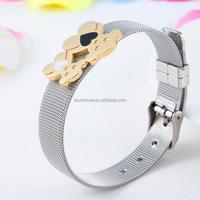Spain bear stainless steel mesh bracelet for girls