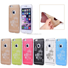 birdcage design with crystal for iphone 6 case, leather with soft tpu plastic for iphone 6 cell phone