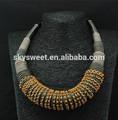 De oro de garrapatas rhistone collar de cuerda, tela de la cuerda collares, viejo estilo hecho a mano collar babero