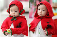 2014 spring, fall and winter warm knitted red wool scarf hat glove set