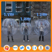 Crazy 1.2m/1.5m/1.8m inflatable bumperballs suited for most people