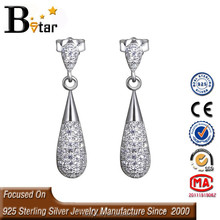 hot selling 925 silver cz micro pave beads stick earring, special earring