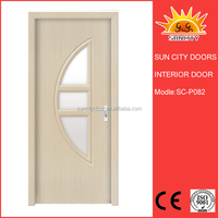 Main door design models wood door with glass SC-P082