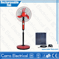 Safe opreation 16inch solar rechargeable fan ac dc floor standing fan with USB port