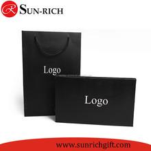 Custom logo gift packaging box and gift packaging bag shirt packaging black color