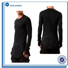 Black Long Sleeve Custom Shirt Super Longline Shirt for Men