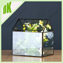 A~~~ glass base, siding, and door and metal black frame // wholesale geometric large glass house curio box