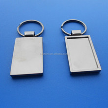 blank rectangle antique silver plating photo attached metal frame key chains for personlised trading