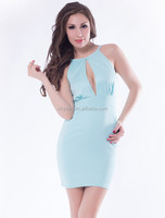 Top quality and cheap wholesale short style high neck sexy ladies keyhole dress in 2015