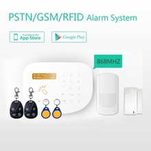 2015 userful multi languages RFID function english spanish french german languages fire detector GSM PSTN Smart Alarm