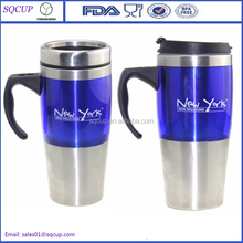 450ml Double Wall Plastic Stainless Steel Insulated Journey Travel Mug With Handle and Leak proof Lid